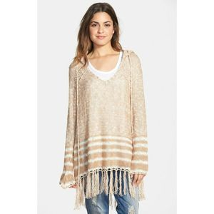 Paper Crane women Fringe Knit Hooded Sweater Tunic